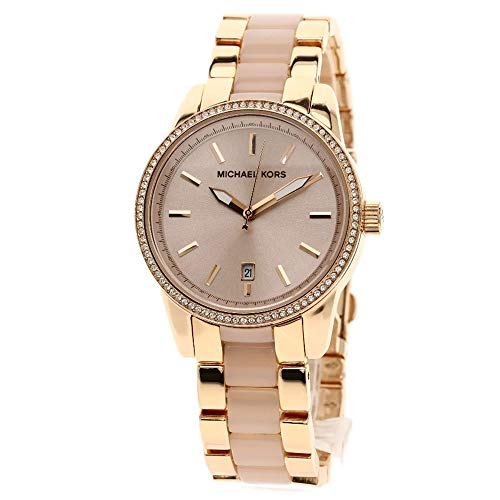 Michael Kors Women's Ritz Rose Gold Tone Acetate and Stainless Steel Watch MK6349