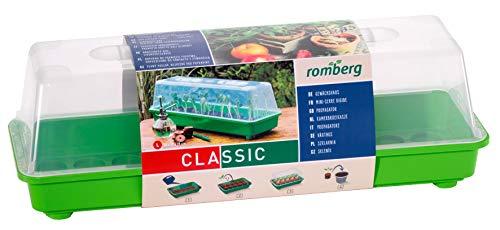 Romberg Gewächshaus L (Farbe grün, Wasserrinnen, Vertiefungen, Schieberegler in der Haube, Kunststoff PAK-frei) 10094104