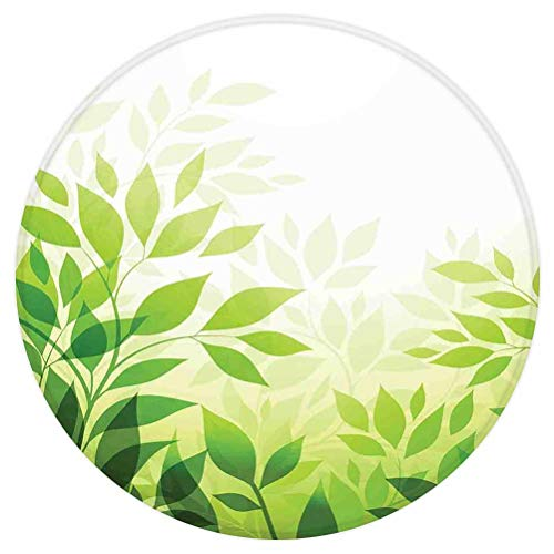 SoSung Leaves Round Area Rug,Modern Abstract Illustration with Greenery Leaves Outdoors Lover Nature Background Decorative,for Living Room Bedroom Dining Room,Round 3'x 3',Green