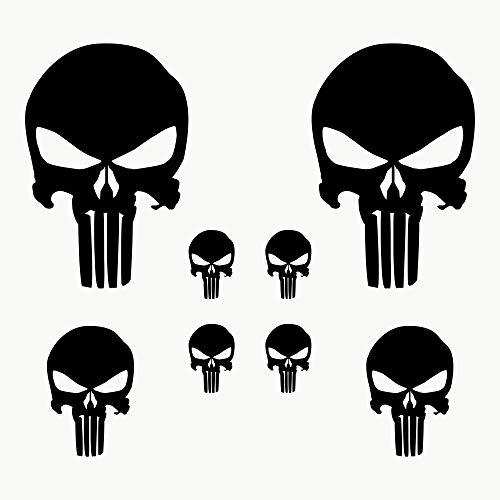 Autodomy Punisher Skull Aufkleber Paket 8 Stück für Auto oder Motorrad (Schwarz)