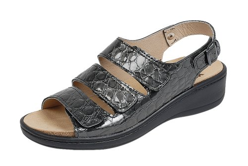 Orthopädische-Sandale mit auswechselbarem Fußbett grau/Kroko Gr. 40