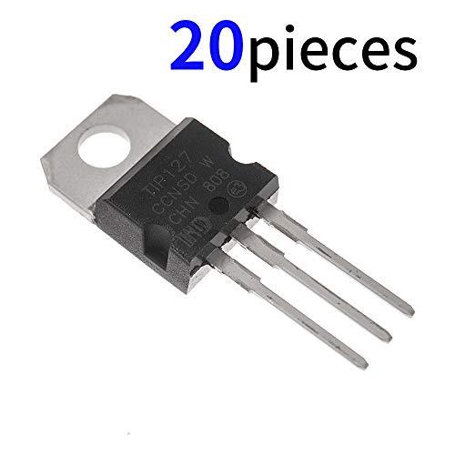 Bridgold 20pcs TIP127 PNP BJT Transistors Darlington Bipolar Power Transistor 5A -100v 3Pins