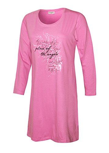 Moonline nightwear Damen Nachthemd lang Schlafhemd Langarm Damen Pyjama Damen langes Sleepshirt Damen Schlafshirt aus 100% Baumwolle Gr. M L XL XXL (L/44-46, Rosa)