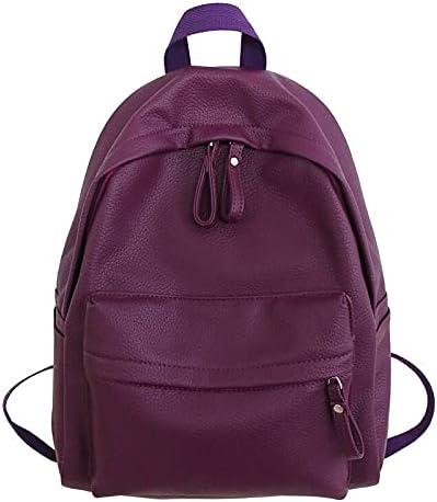 JSJJAUJ Backpack Fashion Backpack Leather Women's Backpack for Teenage Girls School Shoulder Bag Backpack (Color : Purple, Size : 30cmx16cmx40cm)