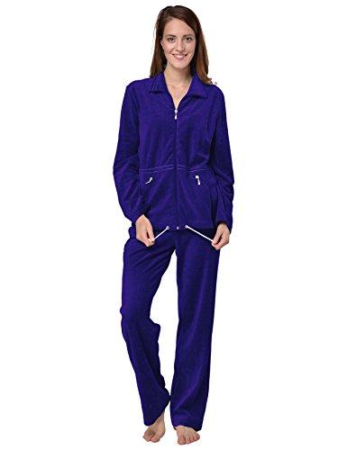 RAIKOU Damen Nicki Hausanzug mit Reißverschluss Velours Freizeitanzug Trainingsanzug (Royal Blau,40/42)