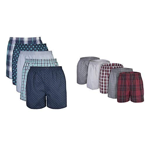 Gildan Men's Woven Boxers, Multipack, Multi Mixed Navy/Red (10-Pack), Large