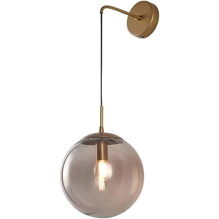 MZStech Industriel Vintage 15 cm Verre Globe Drop Applique Murale Chambre Couloir Applique Lumière Rétro Gris Verre Sphère Applique Murale (Gris)