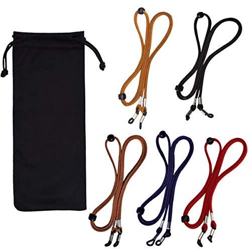 Eyeglasses Straps Chain, 5 Pcs Glasses Holder Leather Non-Slip Spectacles...