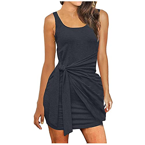 FQZWONG Women's Sexy Bandage Ribbed Dress Slim Fit Sleeveless Pleated Bow Belt Skirt for Dating Holiday Daily(Dark Gray,X-Large)