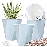 3pcs 7.8' Self Watering Pots Flower Pots Indoor Planters Garden Pots Modern Blue Planter Pot for Herb, African Violet, Succulents, Plant, etc.