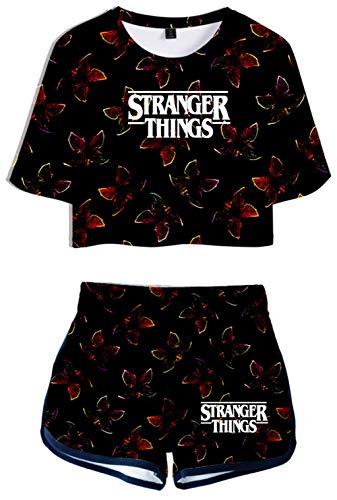 HAOSHENG Stranger Things Tops Traje de Dos Piezas 3D Imprimiendo Camisetas y Shorts Deportiva de Verano(M)