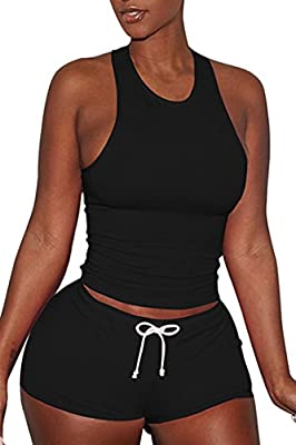 Pink Queen Women's Sexy Sport Active Tank Top Shorts 2 Piece Tracksuit