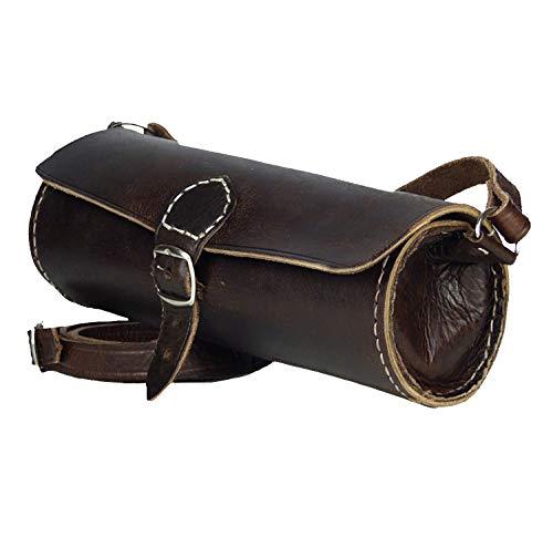 """Leder-Tasche """"Laffa"""" rund 24x10cm Dunkelbraun • marokkanische Umhängetasche • Handtasche 100% Handarbeit • Verstellbarer Schultergurt • 2 Fächer Lederhandtasche Tragetasche – Simandra"""