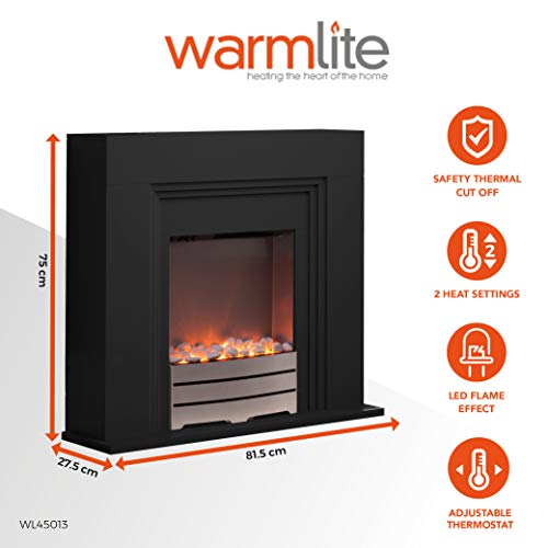 Warmlite York Electric Fireplace Suite with Adjustable Thermostat Control, Safety Cut-Out System, Realistic LED Flame Effect, Pebbles Included, 2 Heat Settings 1000-2000 W, Black
