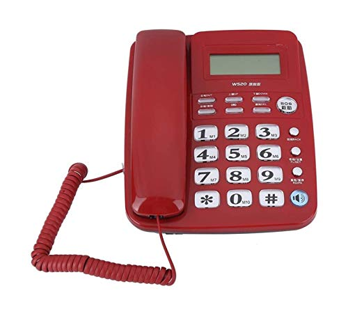 gujiu Teléfonos Antiguos con Cable, teléfono Fijo con Cable con identificación de Llamadas Teléfono Manos Llamadas gratuitas para Oficina, hogar, Hotel. (Negro) (Color : Red)
