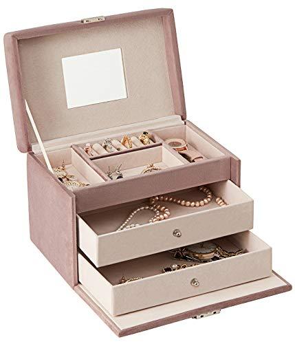 YOUDENOVA Schmuckkästchen Mädchen Velvet Samt Schmuckschatulle mit Spiegel 3 Ebenen 2 Schubladen Abschließbarer Schmuckkasten Geschenk für Mädchen und Damen (Pink)