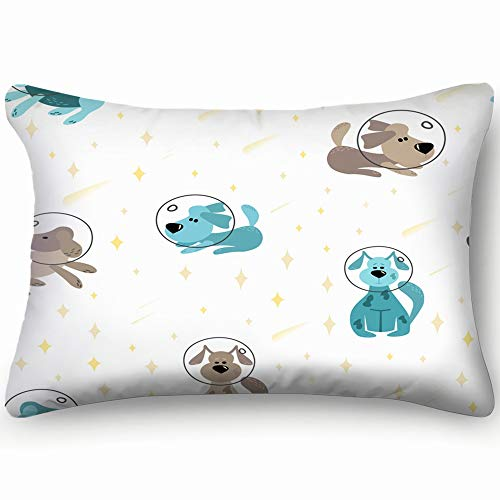 best & Dogs on Moon Cosmic Animals Wildlife Animal Cotton Linen Blend Decorative Throw Pillow Cover Cushion Covers Pillowcase Pillow Shams, Home Decor Decorations for Sofa Couch Bed Chair 20x30 Inch