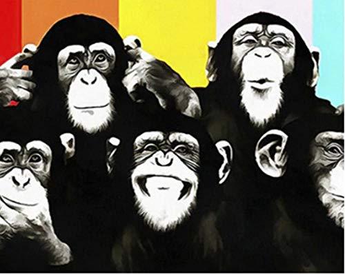 YKCKSD Puzzle, Hermano Mono, DIY Moderno Arte De La Pared Decoración para El Hogar, 100x150mm
