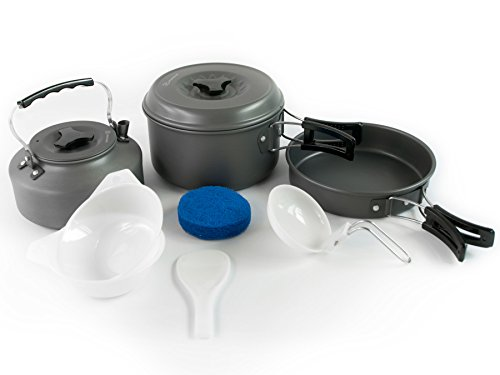 Product Image 1: Winterial Camping Cookware and Pot Set, 10 Piece Set for Camping, Backpacking, Hiking, Trekking