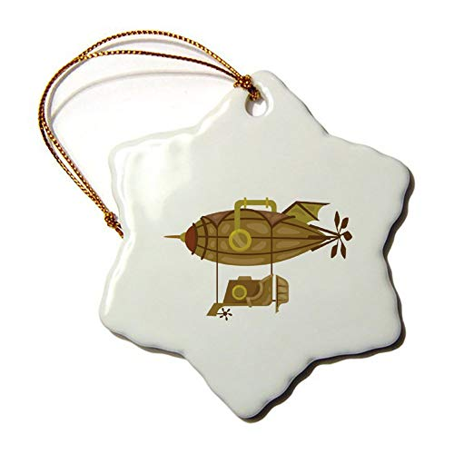 Weihnachts-Ornamente Urlaub Baum Ornament Steampunk Zeppelin beidseitig Stern Keramik Ornament Basteln