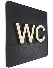 WC-bord zwart hout toiletbord toilet deurschild dames heren pictogram (14x14cm) (zwart, 14x14cm) art.nr. 4000