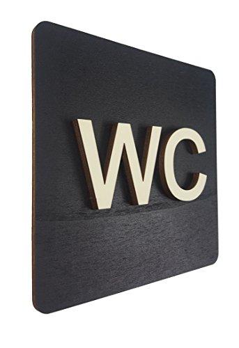 WC Schild Schwarz Holz Toilettenschild Toilette Türschild Damen Herren Piktogramm (14x14cm) (Schwarz, 14x14cm)