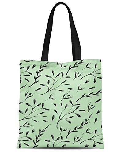 S4Sassy Verde semillas fresno europeo hojas bolso de compras reutilizable impreso del viaje del bolso del hombro de las mujeres de la bolsa de asas 16x12 Pulgadas