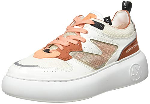 Armani Exchange Damen SUPER Flatform Wedge Low TOP Sneaker, OP.White+Brick, 38 EU