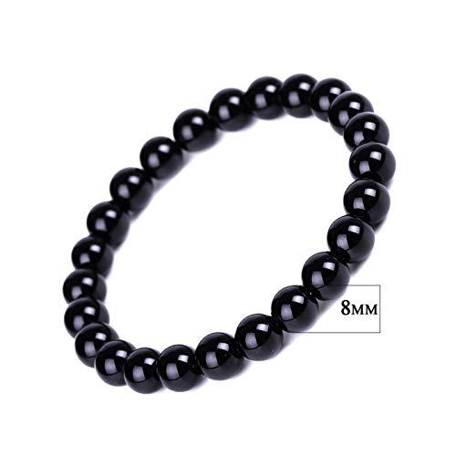 ZNYD La oración la Pulsera Negro Obsidiana oración Granos de la Bola de Piedra Blackstone curación de la bendición joyería Presente de San Valentín (Color : 8mm)