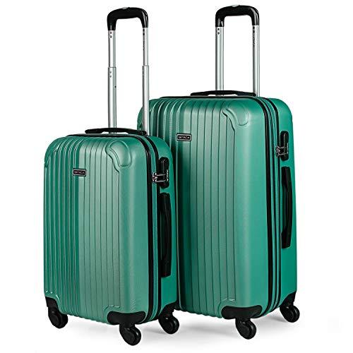 ITACA - Juego Maletas de Viaje 4 Ruedas Trolley. ABS. Duras Rígidas Resistentes y Ligeras Diseño. 2 Tamaños: Pequeña Cabina y Mediana Extensible. T71515, Color Verde Menta