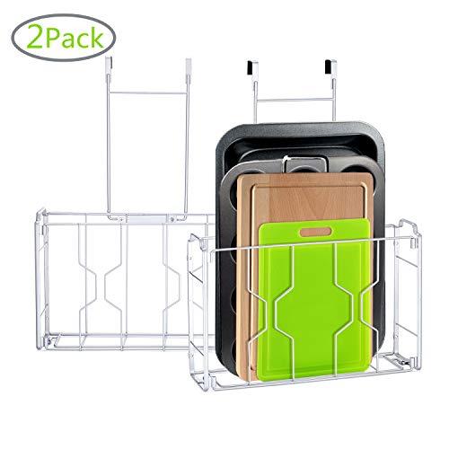 2er-Pack – einfacher Trend über die Tür/Wandmontage, Schranktür-Organizer in Küche oder Speisekammer für Schneidebrett, Aluminiumfolie, Reinigungsmittel, Silber