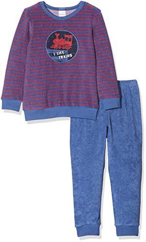 Schiesser Jungen Zug Kn Anzug lang Zweiteiliger Schlafanzug, Blau (Blau 800), (Herstellergröße: 104)