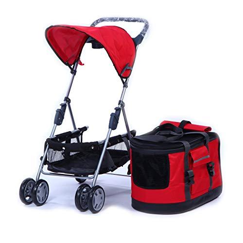 KLLKR Carrito de Viaje para Perros 3 en 1 Ca tPet Carrito de Viaje Desmontable para Mascotas Medianas y pequeñas Jogger Cochecito Jaula Carrito de Paseo Plegable (Color:Red)