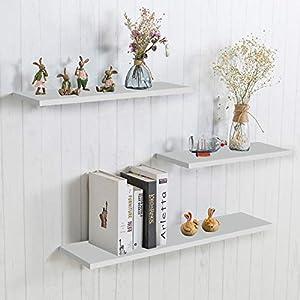 aimu Juego de 3 estantes flotantes de pared, de madera, para la decoración de tu hogar o tu oficina, color blanco