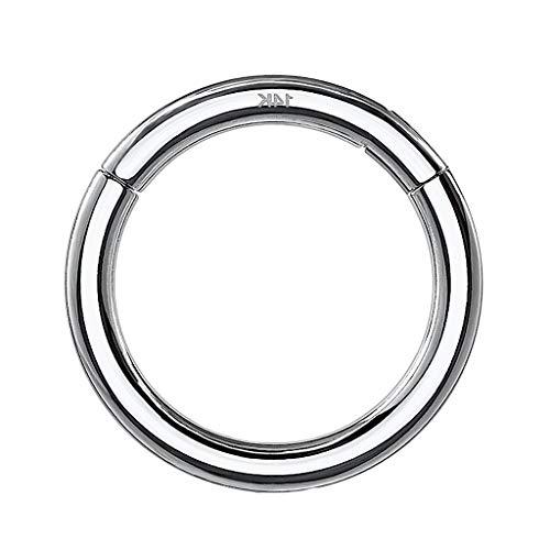 Piercing Clicker Scharnier Ring 585 Gold 14 Karat Segmentring Septum Tragus Helix Ohr Nase Nasenring Nasenpiercing Ohrpiercing Weißgold 1,2mm x 8mm