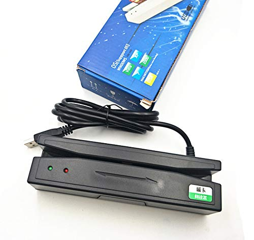 YUHUANG Lector de Tarjetas magnéticas USB, Tarjeta de membresía Lector de Banda magnética Boca con contraseña de Teclado IC Leer y Escribir una Sola Pista Doble - Negro,Blanco