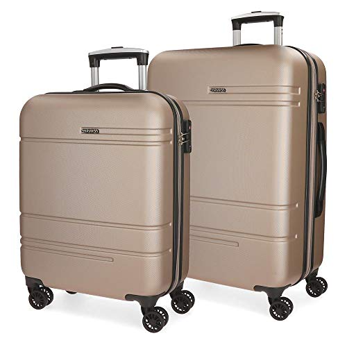 Movom Galaxy Juego de maletas Beige 55/69 cms Rígida ABS Cierre TSA 108L 4 Ruedas Dobles Equipaje de Mano