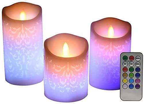 MULEVIP Vela Sin Llama Patrón Hueco,3 Luces LED de Vela Control Remoto,con Control Remoto Y Temporizador para Decoración de Fiesta en Casa Regalos del Festival del Banquete De Boda del Hogar