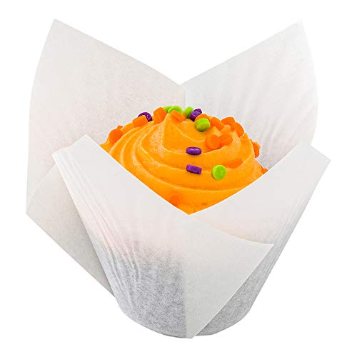 Tulip Petal Baking Cups: Small 0.4-oz Grease Proof Paper Baking Cup - Perfect for Muffins, Cupcakes or Mini Snacks - Sugar White - Disposable and Recyclable - 200-CT - Restaurantware