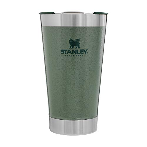 STANLEY Unisex's Classic Stay Chill Vacuum Insulated Pint Glass, 16oz, Hammertone Green, 47L