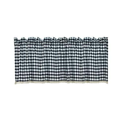 AchidistviQ Cortina, ventana de cocina a cuadros cortina corta de encaje cenefa a través de la barra de cortina cortina decoración del hogar para sala de estar dormitorio - azul marino 74 x 61 cm