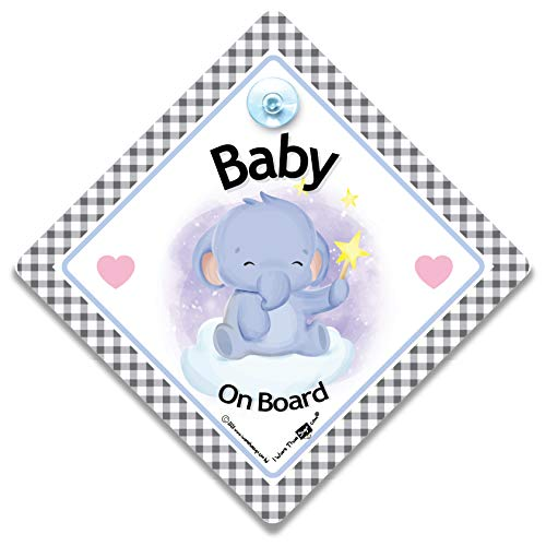 Panneau de fenêtre de voiture avec ventouse Motif bébé éléphant à bord