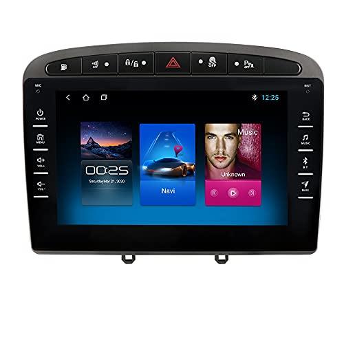 Autoradio para Peugeot 308 308S 408 2012-2020 GPS Navi para Peugeot Android Radio Bluetooth Manos Libres Control del Volante WiFi 4G USB Enlace Espejo Dab+ Entrada de Vista Trasera Gris