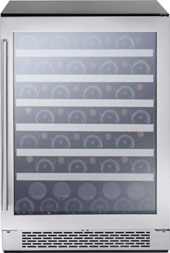 Zephyr PRW24C01AG 24 Inch Built-In and Freestanding Single Zone Wine Cooler with 54 Bottle Capacity, in Stainless Steel