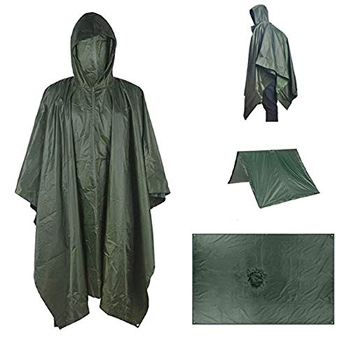 Zdfdfshj 3-in-1 Rain Poncho, men's rainwear Waterproof Camouflage raincoat Outdoor reusable raincoat for Hunting Camping Cycling, Hiking (Color : Army green)