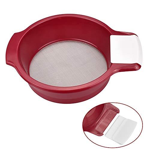 DECARETA Setaccio per Farina Setaccio Acciaio Inox Maglia 0.5mm Setaccio da Cucina con un Raschietto Bianco Setaccio per farina Zucchero Miele, per Cucina, Casa (17*5 CM)