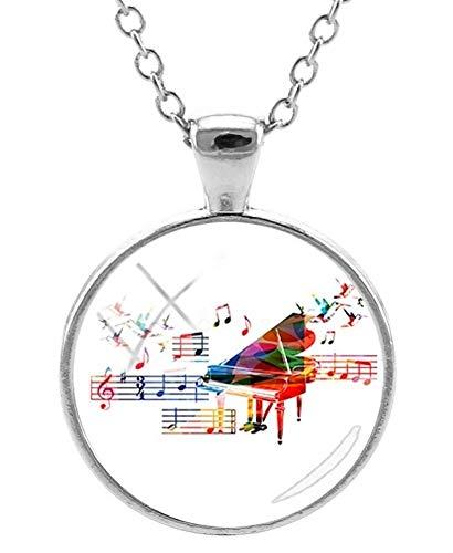 Halsketting met hanger bedrukt piano noten en muzieknoten