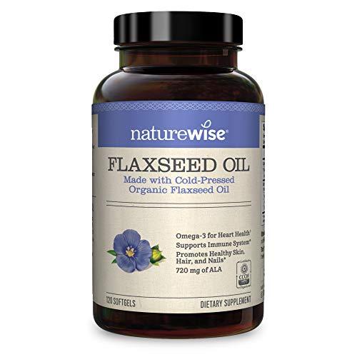 NatureWise Organic Flaxseed Oil Max 720mg ALA | Aceite de lino de máxima potencia Omega 3 para el apoyo cardiovascular, cerebral e inmunológico y para la salud del cabello, la piel y las uñas