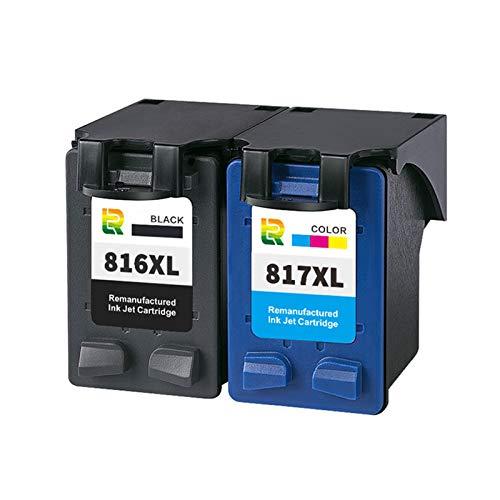 Cartuchos de tinta 816XL 817XL, cartucho de impresora de tinta compatible con alto rendimiento para HP DeskJet F388 2288 2188 D2468 3938 Reemplazo para negro y color Combination