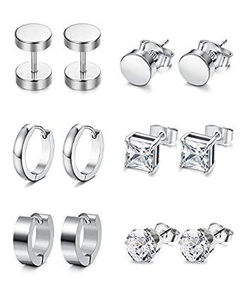 Jstyle 6 Pairs Stainless Steel CZ Stud Earrings for Women Mens Huggie Hoop Earrings Ear Piercing Silver